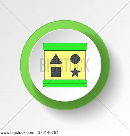 Cartoon Shape Sorter Blocks Toy Colored Button Icon. Signs And Symbols Can Be Used For Web, Logo, Mo