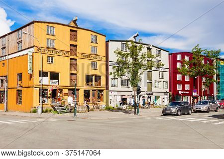 Trondheim, Norway - August 02, 2017: Local Style Wooden Houses In The Trondheim Old Town In Norway