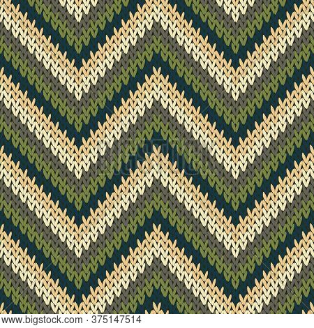 Cotton Zigzag Chevron Stripes Knit Texture Geometric Seamless Pattern. Scarf Knitwear Structure Imit