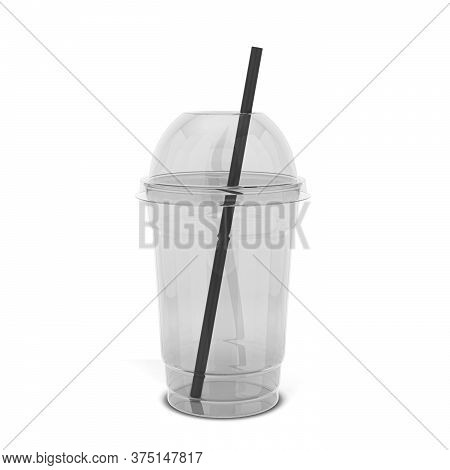 Transparent Plastic Cup For Juice And Other Drinks. 3d Illustration Isolated On White Background