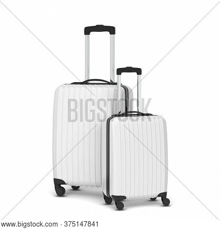 Plastic Travel Suitcase. 3d Illustration Isolated On White Background