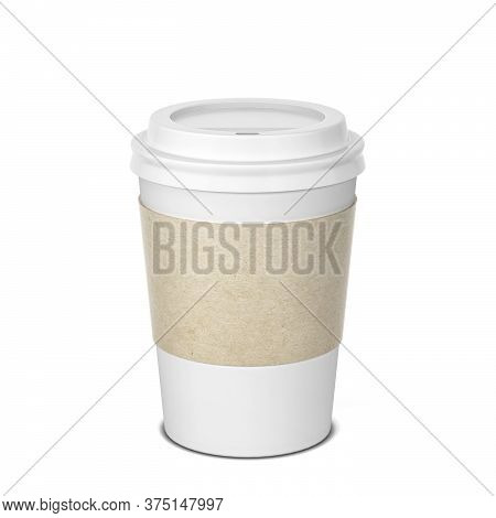 Blank Paper Coffee Cup Mock Up. 3d Illustration Isolated On White Background