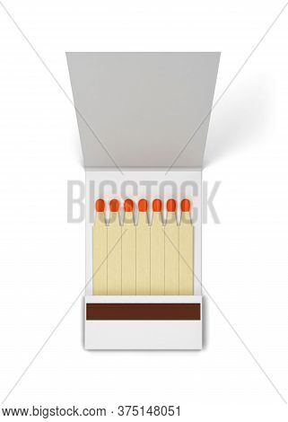 Paper Book Of Matches Mockup. 3d Illustration Isolated On White Background