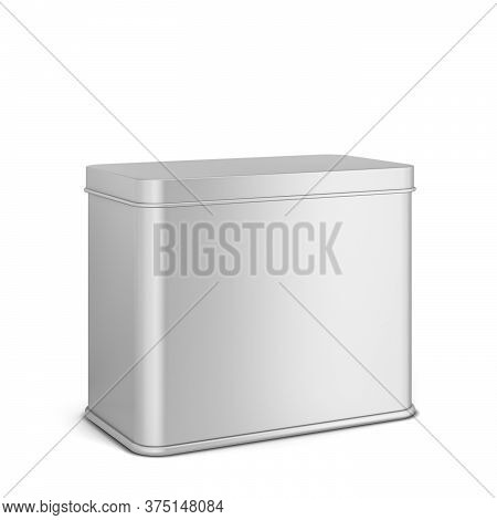 Rectangular Tin Can For Tea Or Coffee. 3d Illustration Isolated On White Background