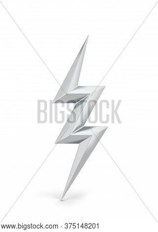 Lightning Bolt Symbol. 3d Illustration Isolated On White Background