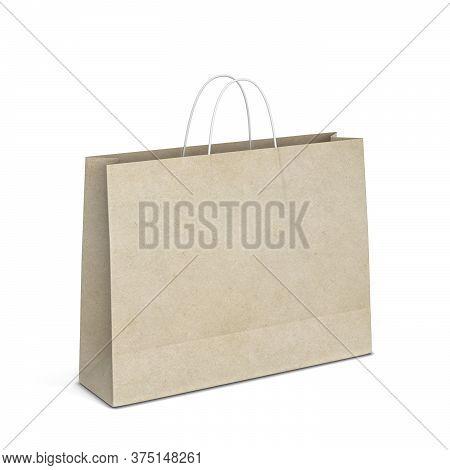 Blank Shopping Bag Mockup. 3d Illustration Isolated On White Background