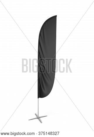 Blank Feather Flag Banner. 3d Illustration Isolated On White Background