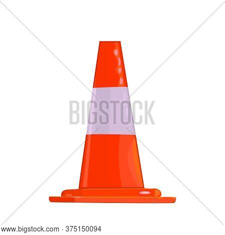 Traffic Cone Isolated On White Background. Construction Cone Icon In Flat Style. White And Orange Ro