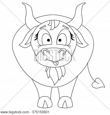Cute Bull Chinese New Year 2021 Year Of The Bull. A Pet Is A Bull With A Tongue Sticking Out. Black