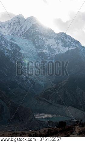 Panorama Of Mountain Glacier Over Manang Village, Trekking Annapurna Circuit, Himalaya, Nepal