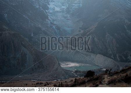 Mountain Glacier Over Manang Village, Trekking Annapurna Circuit, Himalaya, Nepal