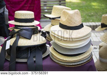 Starw Summer Hats For Sale On Street Market