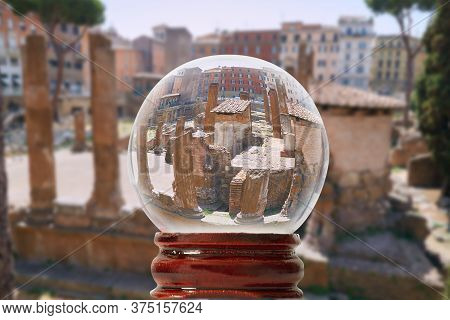 Square Of Torre Argentino Through A Glass Transparent Ball Rome, Italy