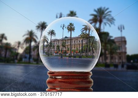 Palace Of Justice In Rome, Italy Through A Glass Transparent Ball