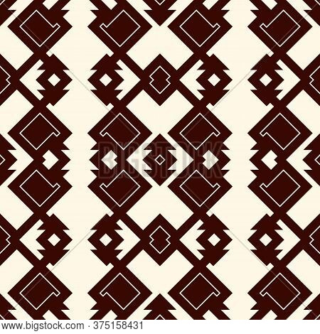 Ethnic Style Outline Seamless Pattern. Native Americans Abstract Background. Tribal Motif. Boho Chic