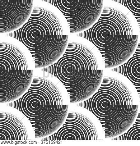 Abstract Geometric Rings Seamless Pattern. Optical Illusion Of Volume. Black And White Image.