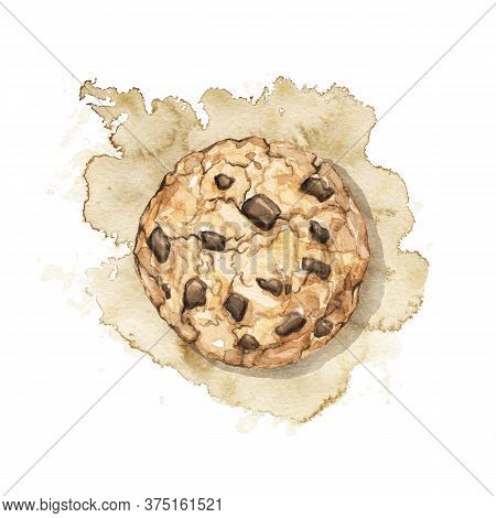Home Made Chocolate Chip Cookie Isolated On Beige Stain Background. Watercolor Hand Drawn Illustrati