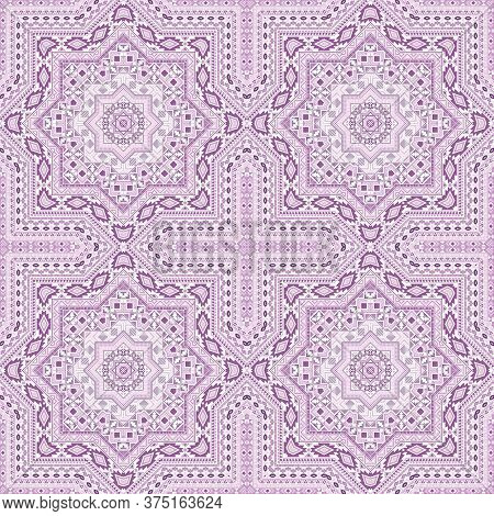 Beautiful Portugese Azulejo Tile Seamless Ornament. Geometric Texture Vector Patchwork. Textile Prin