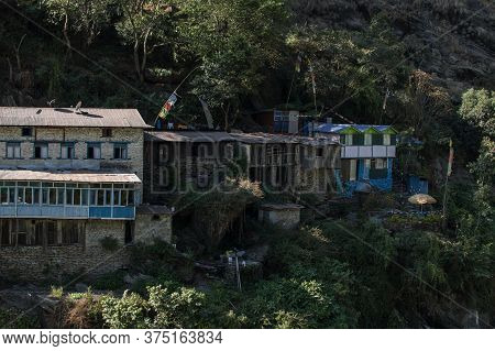 Colorful Mountain Village With Tea Houses At Annapurna Circuit In Nepal