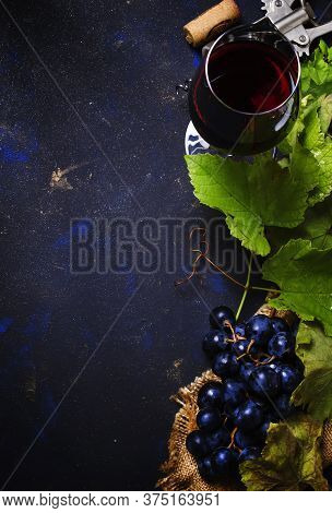 Red Wine From Grape Varieties Cabernet Sauvignon, Beverage Background, Top View