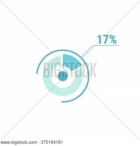 17 Seventeen Percent Vector Circle Chart, Percentage Diagram Graph For Web Ui Design, Flat Vector Il