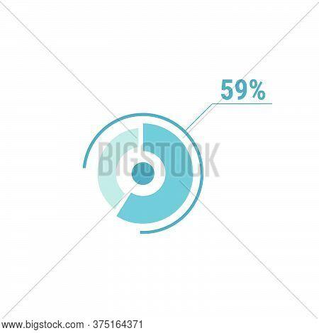 Circle Diagram Fifty Nine Percent Pie Chart 59. Circle Percentage Vector Diagram. Flat Vector Illust