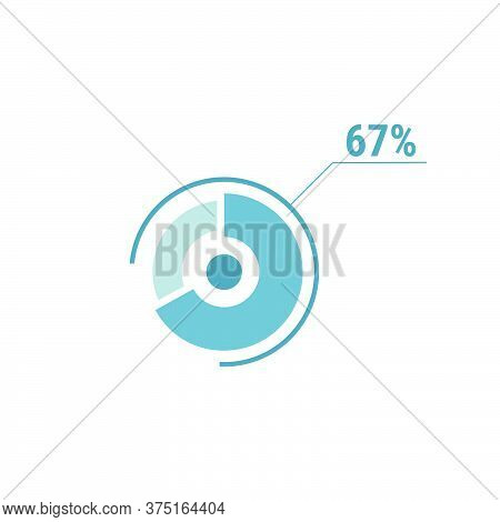 67 Sixty Seven Percent Vector Circle Chart, Percentage Diagram Graph For Web Ui Design, Flat Vector