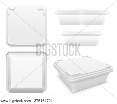 Vector Square Plastic Container With Rounded Tabs And Blanks As Motionless Locking System For Butter