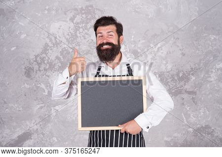 Happy Bearded Chef Show Thumb Up. Successful Cook Career. Best Cuisine Here. Welcome On Board. Bruta