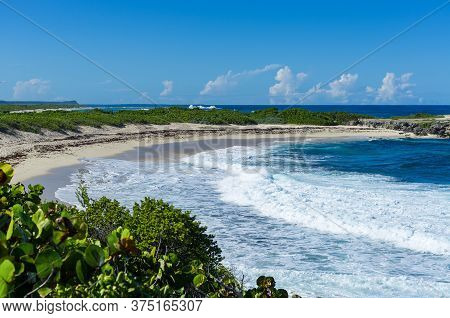 Beach At Pointe Des Chateaux, Guadeloupe,caribbean, French Antilles