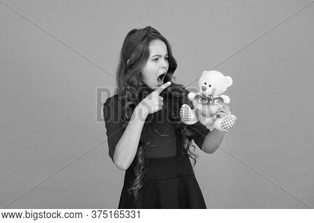 Happy Childhood. Imaginary Friend. Little Girl Play With Soft Toy Teddy Bear. Child Care. Childhood