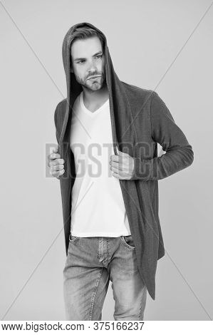 Fashionable And Stylish. Fashionable Man Yellow Background. Fashionable Look Of Vogue Model. Handsom