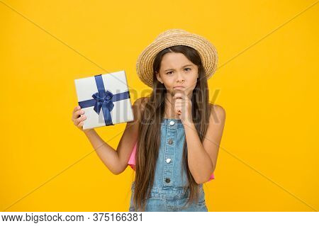 Last Chance To Save Big This Holiday. Serious Girl Hold Present Box. Holiday Celebration. Birthday A