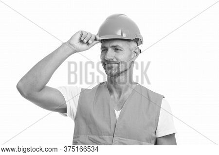 Everything Is Under Control. Safety Concept. Man Wear Protective Hard Hat And Uniform. Cheerful Buil