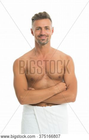Take Bath. Deal With Bristle. After Bath. Sexy Man In Bath Towel. Athletic Guy With Sexy Muscular To