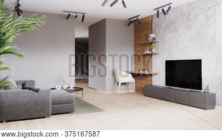 Bright Modern Living Room With Gray Sofa, White Chair On Wooden Laminate. Scandinavian Style, Cozy I