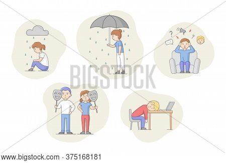Depression Concept. Set Of Characters Suffering From Depression. Sad Men And Women Under The Rain. O