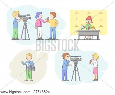 Concept Of Reportage And Interview. Journalists Interviewing People, News Presenters And Cameramen O