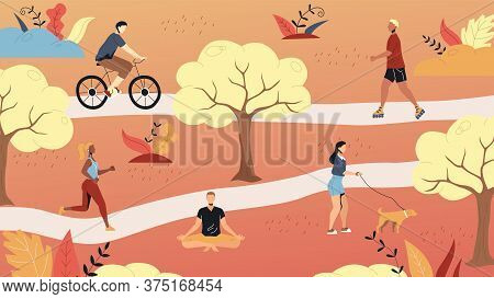 Weekend Time Leisure. People Walk In The Park, Do Yoga, Ride Bicycle, Jogging Riding Roller Skates.