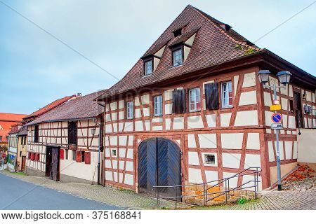 Street With Half-timbered Houses . Old Houses In Nuremberg Germany