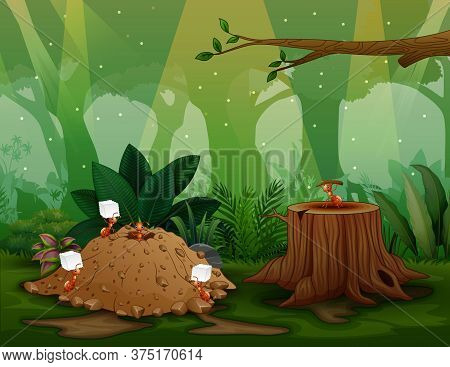 Illustration Of Nature Scene With Ant Colony