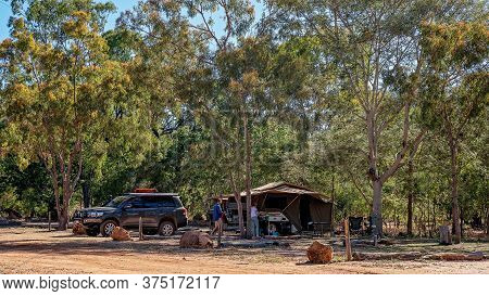 Undara Volcanic National Park, Queensland, Australia - June 2020: Tourist Camping In Tent Amongst Bu