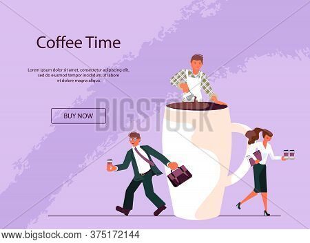 Landing Web Page Template For Coffee Shop With Tiny People And Large Cup Of Coffee. Concept Of Coffe