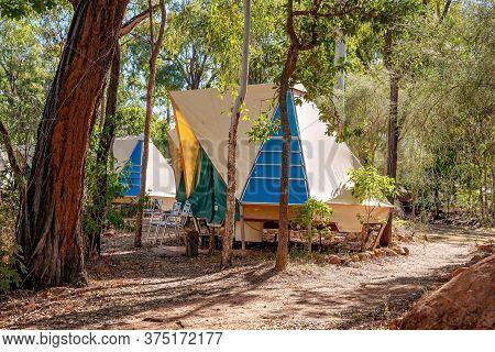 Undara Volcanic National Park, Queensland, Australia - June 2020: Guest Accommodation Permanent Tent
