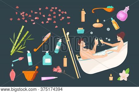 Set Of Spa Cosmetics And Accessories. Lovers In Bath Drinking Wine. Isolated Icons For Home Spa Day