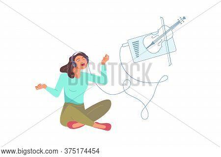 Joyful Girl Wearing Earphones And Headphones, Listening To Violin Classical Music. Happy Girl Using