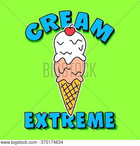 Ice Cream Cone Vector, Vanilla And Strawberry Ice Cream Cone With A Cherry On The Top, Slogan Print