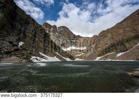Low Angle View Of Chasm Lake Still Frozen