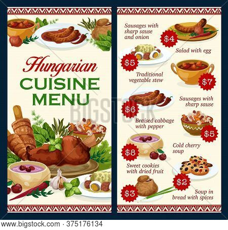 Hungary Cuisine Vector Menu Template, Sausages With Sauce And Onion, Salad With Egg, Traditional Veg