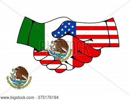 Mexico And Usa Partnership Handshake. Trade And Business Deal Agreement Vector Symbol. Joined Hands